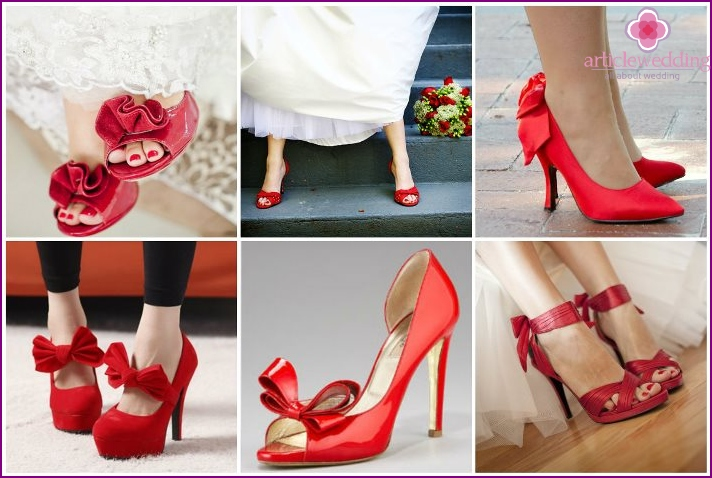 Red shoes with bows and flowers.