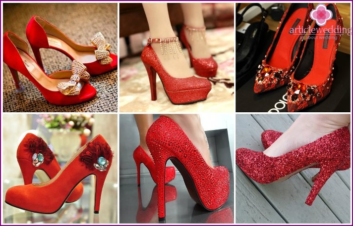 Red shoes with rhinestones for the bride