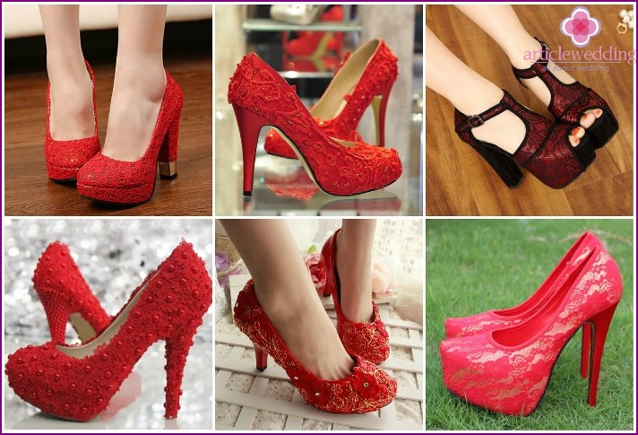 Wedding red shoes with lace