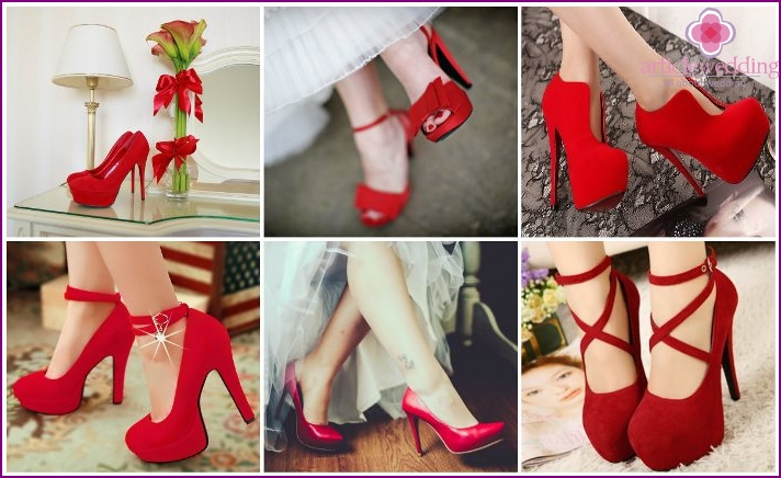 Red wedding shoes photo