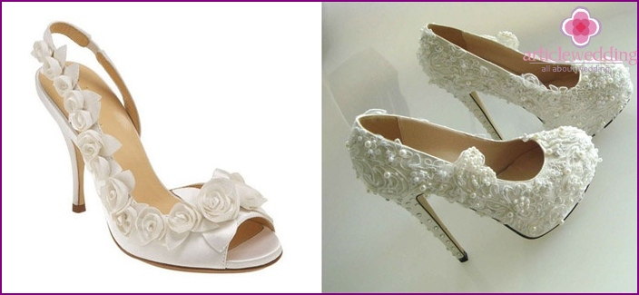 lace decor on wedding shoes