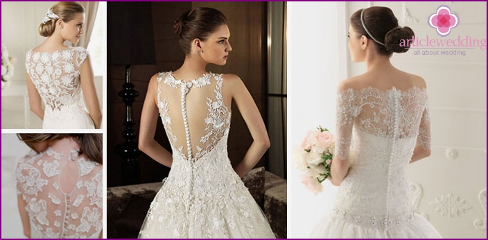 Openwork back of a wedding dress