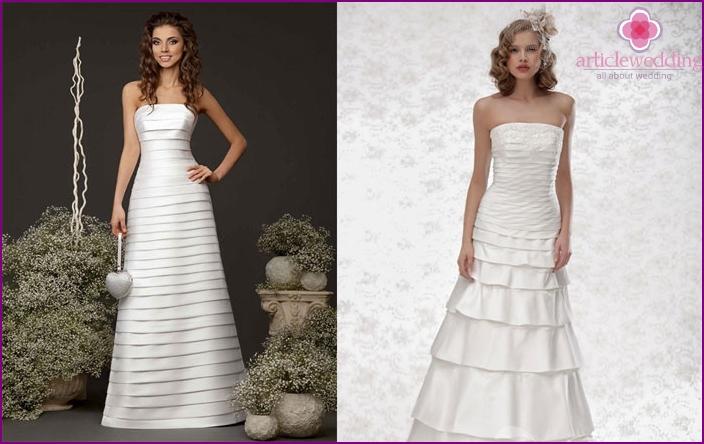 Straight cut wedding dress