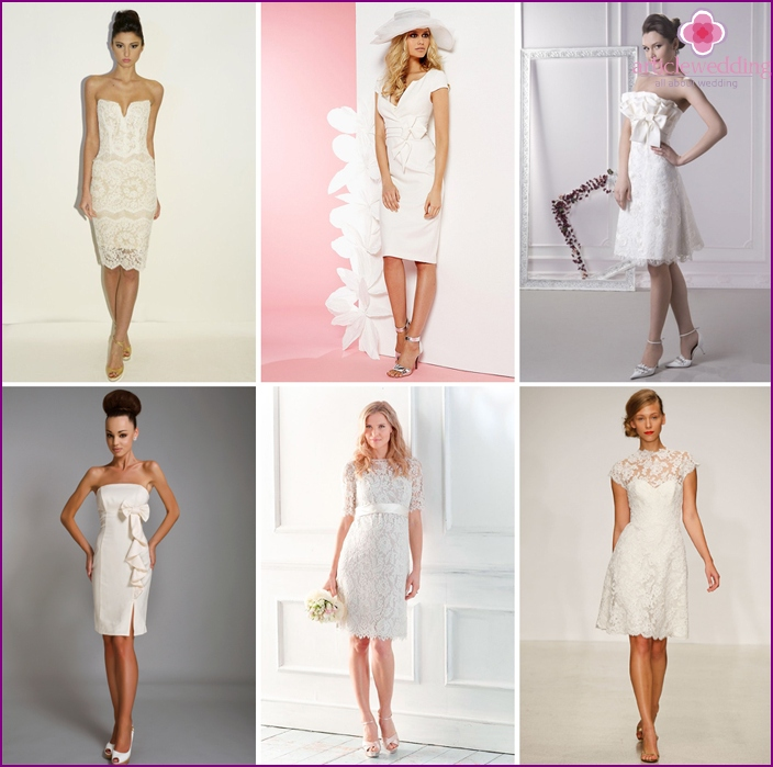 The fitted models of short dresses for a wedding