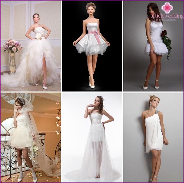 Unusual wedding mini dresses
