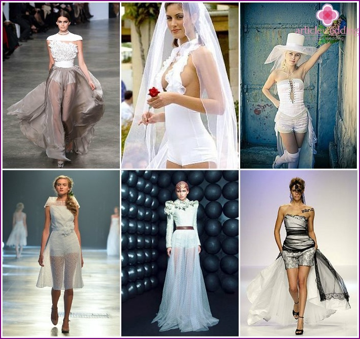 A variety of dresses with shorts for the bride