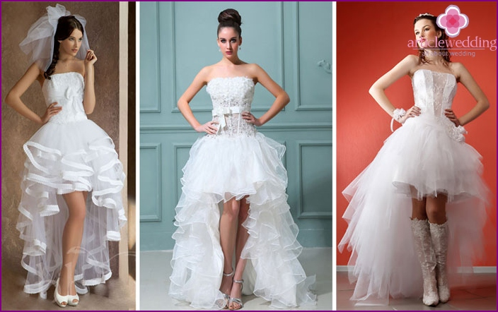 Short guipure wedding dresses with a train