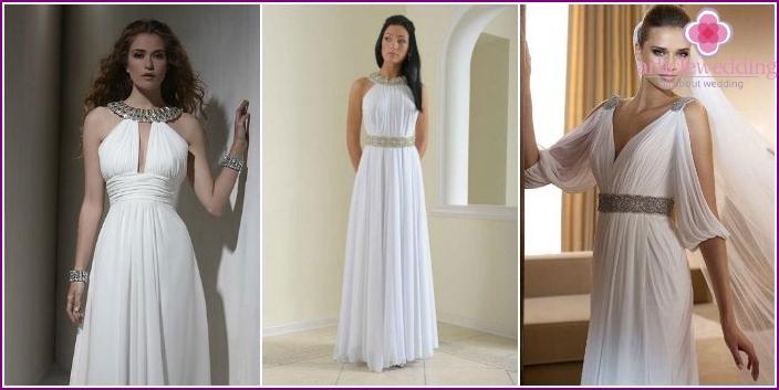 Greek style bride wedding clothes