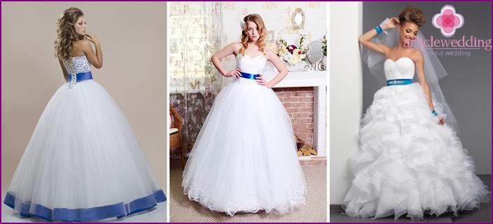 Elegant wedding dresses with blue ribbon