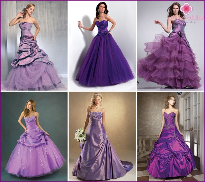 Fashionable purple wedding dresses