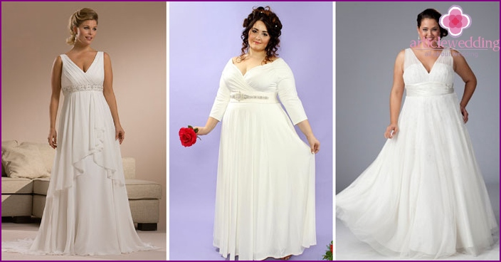 Wedding gown with neckline for fat