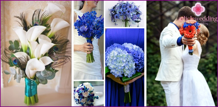 Bouquets with flowers and feathers.