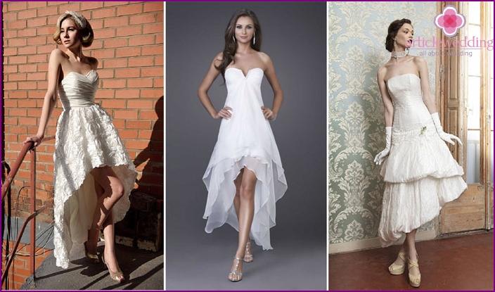 Asymmetrisches Petticoat-Brautoutfit