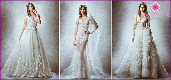 Translucent wedding dress with embroidery