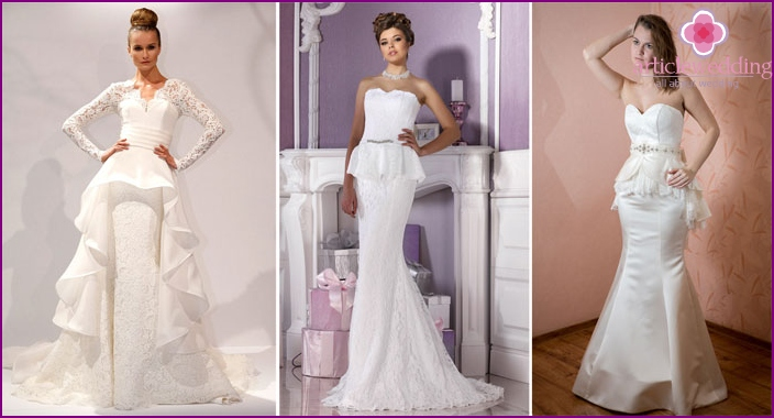 Fashionable style of peplum outfit for the bride