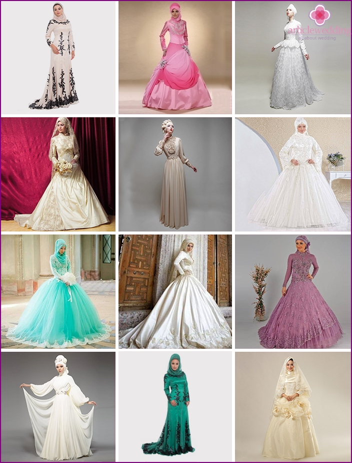 A variety of wedding robes