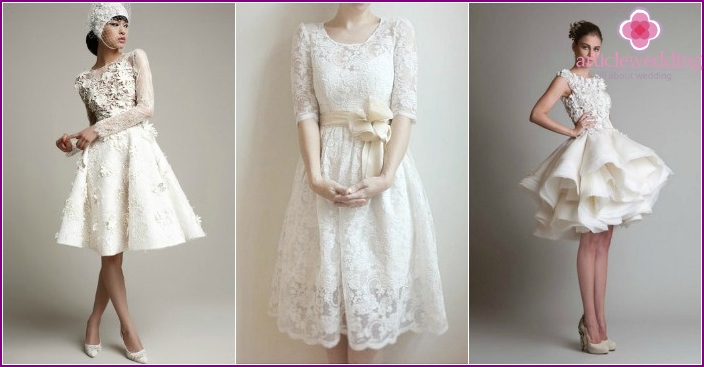 Short dresses with lace for the bride