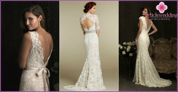 Dress for the bride with a neckline on the back