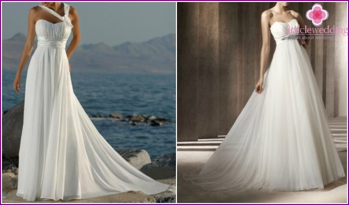 Lush wedding dresses: photos of models in the Empire style