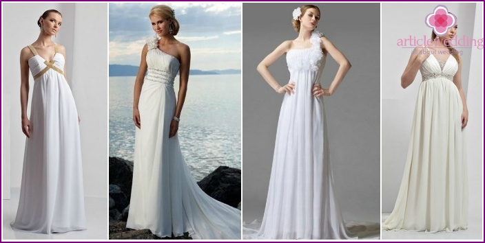 Photo of lush wedding dresses with high waist