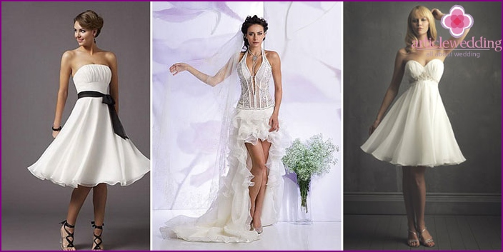 Short models of dresses for a rock wedding