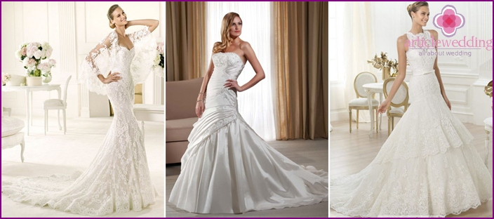 Long bottom of the skirt in a wedding dress