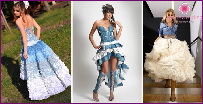 Denim bride clothes with frill and ruffles