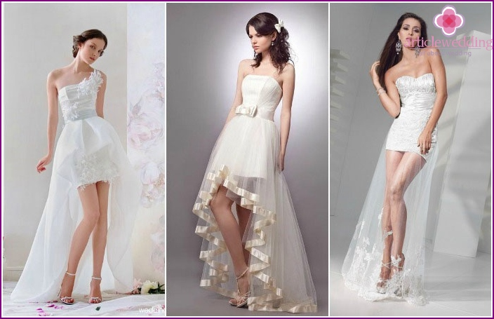 Short tail wedding outfit