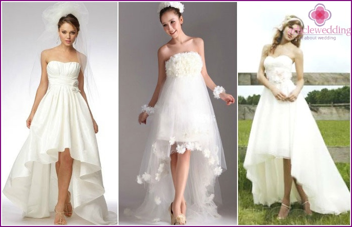 Loops for dresses of medium length for a wedding