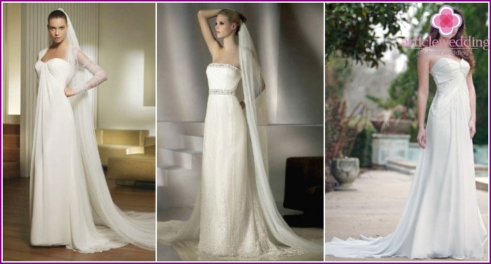 A straight style wedding dress with a train