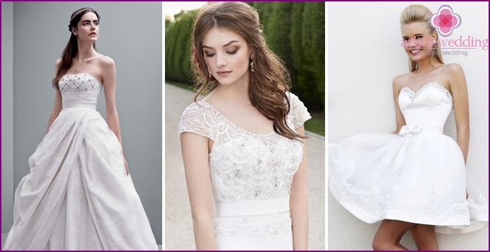 Perlen und Strasssteine auf Hochzeitskleidern