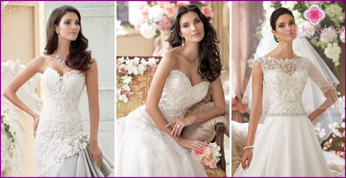 Stickerei, Perlen auf Hochzeitskleidung