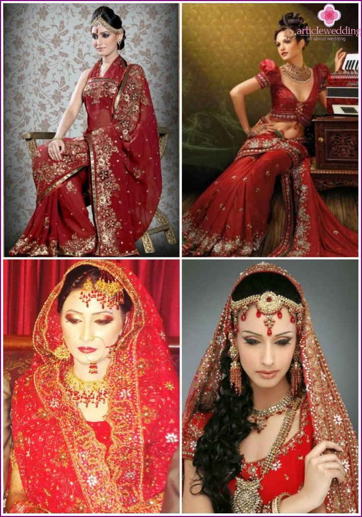 Punainen intialainen sari morsiamet