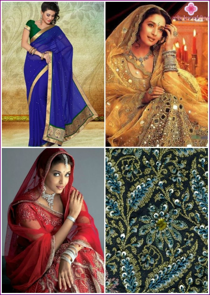Sarees with rhinestones, beads and stones