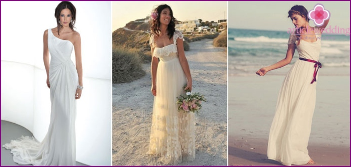 Long boho style wedding dress