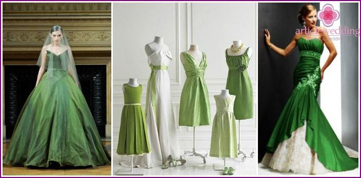 Holiday green shades for brides