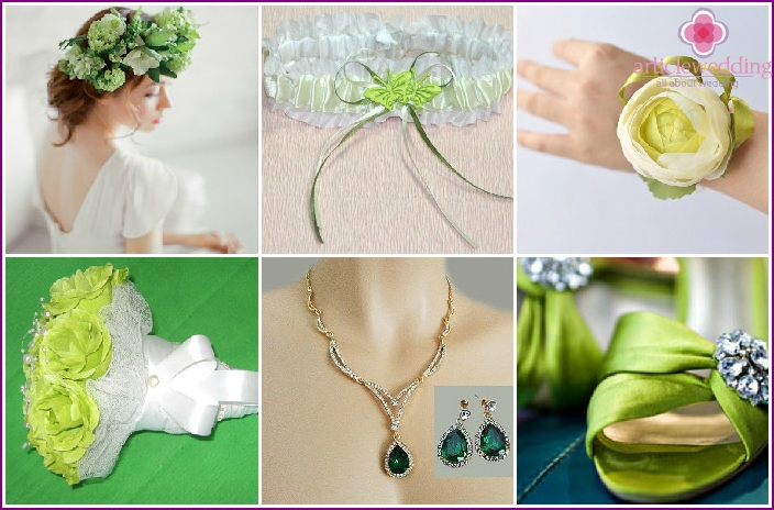 Accessories for the bride to green alongside