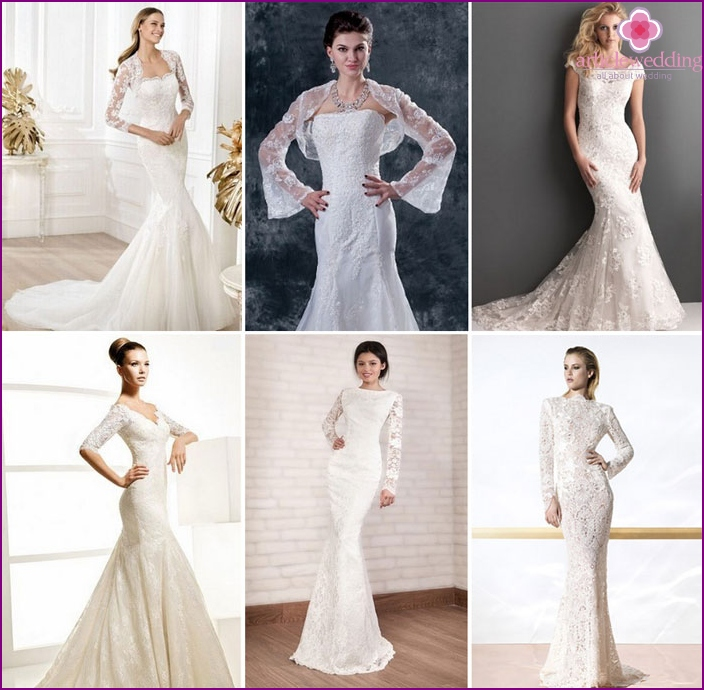 Wedding dress fish with sleeves