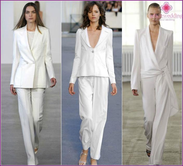 Modelle der originalen Hochzeitskleidung mit Hose
