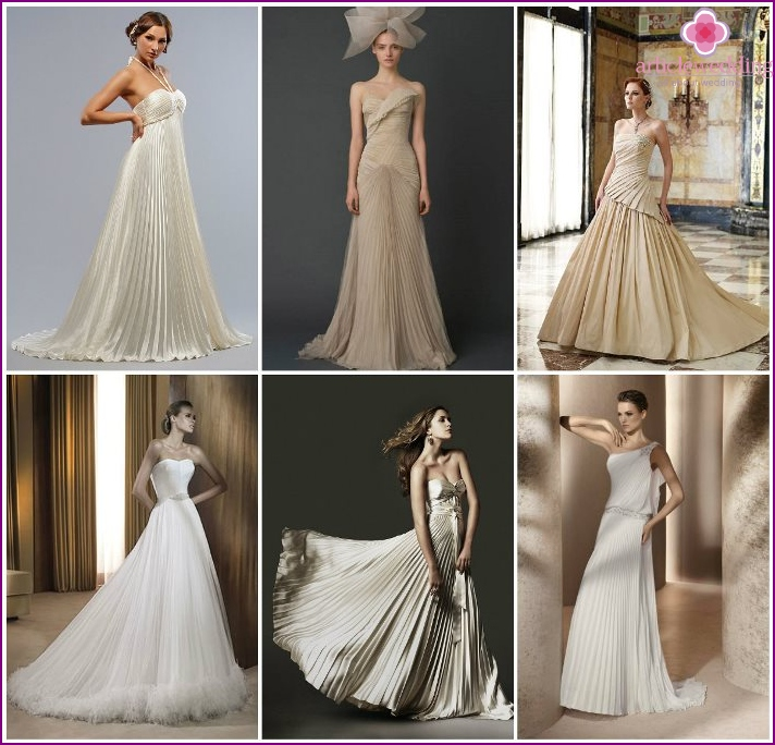 Outfits of the bride with pleated elements