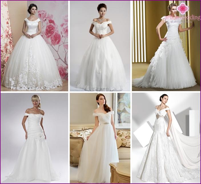 Cascading shoulder straps of a wedding dress
