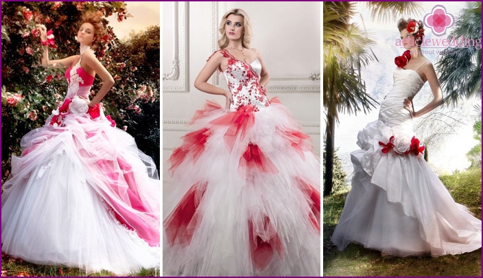 Models of dresses for the bride in red and white tones