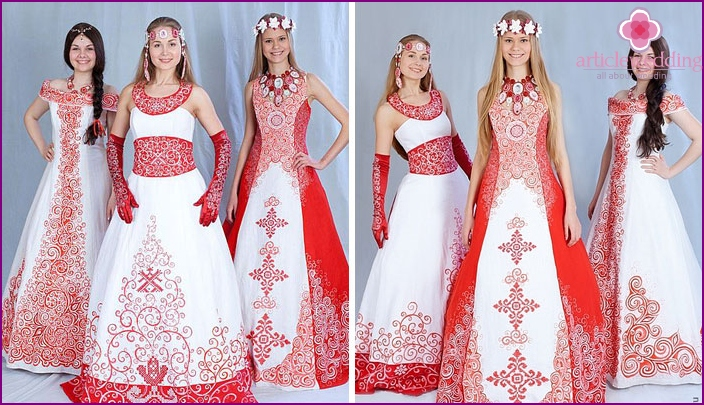 National wedding dresses in red-white style