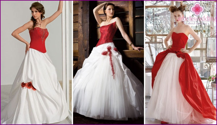 A game of contrasts: white and red details of a wedding dress