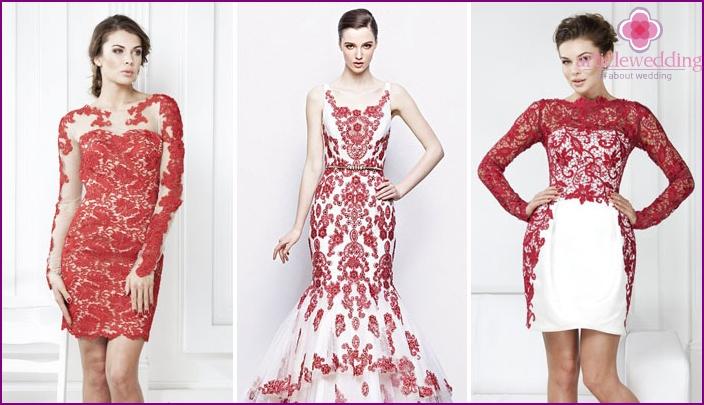 Pitsipunainen kirjonta - kuinka koristaa morsiamen mekko