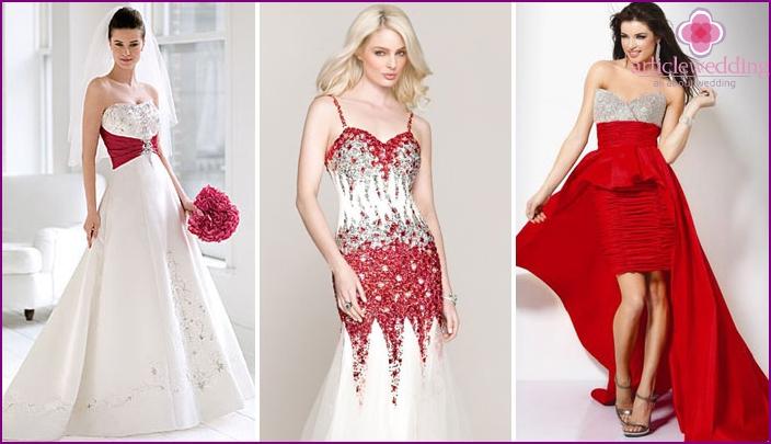 Tyylikkäät valkoiset ja punaiset morsiusneitojen mekot - sisustus strasseilla, kirjonta