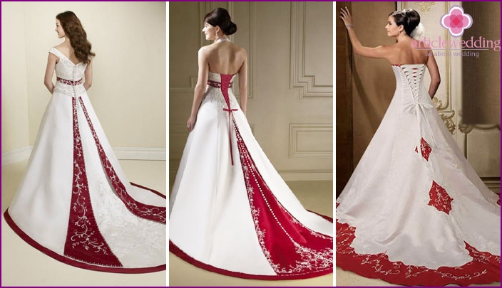 Red train on a wedding dress: bright accent