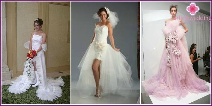Fotos von ungewöhnlichen Modellen von Hochzeitskleidern