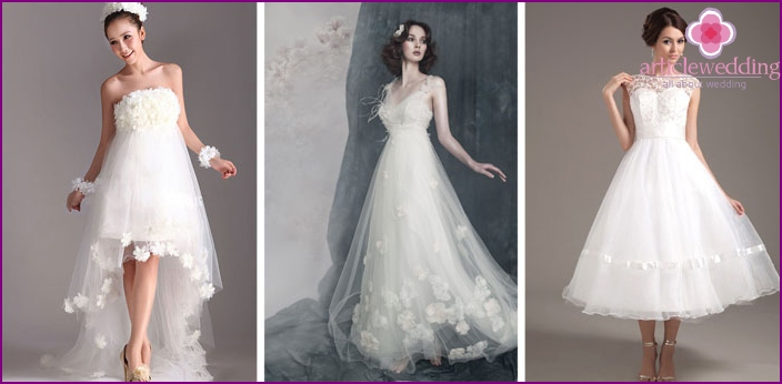 Outfits of brides with lace and lace bodice