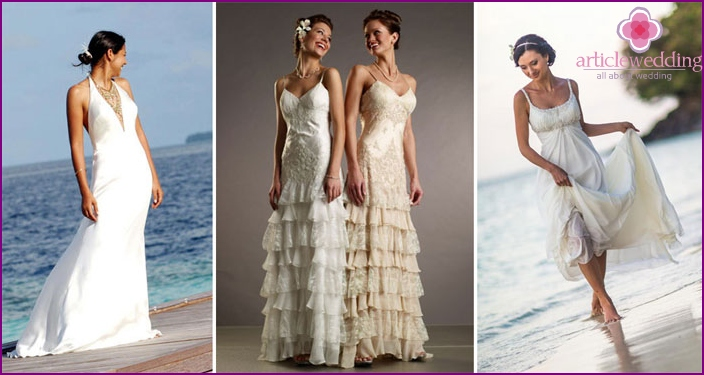 Dress for a beach wedding on thin straps